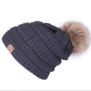 309378496ff6e C.C Accessories - C.C Dark Grey Cable Knit Beanie Faux Fur Pom Pom